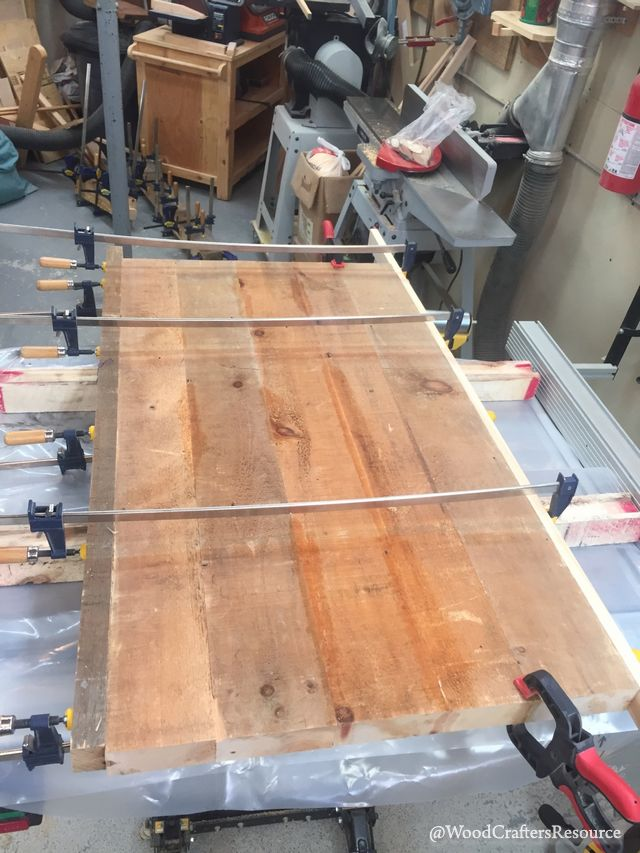 cut the assembled wood slab to length to achieve a perfectly square edge at both ends of the table
