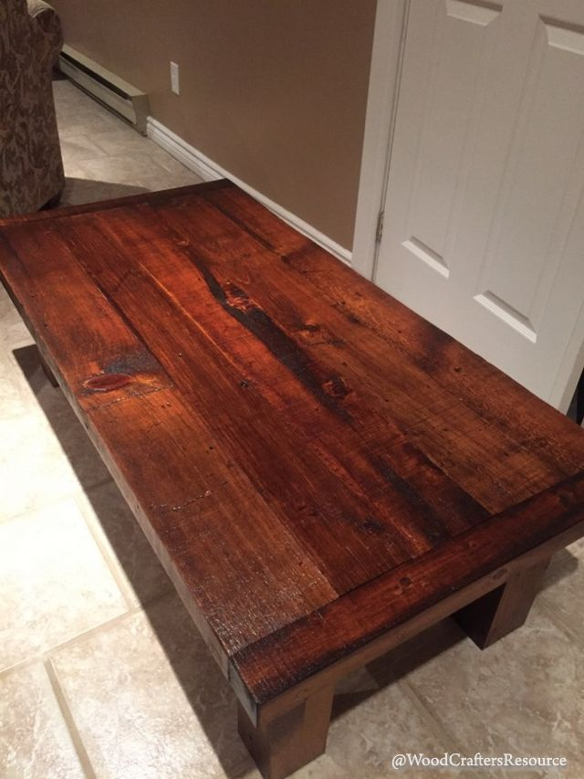 Coffee Table Made From Reclaimed Lumber - view of the top