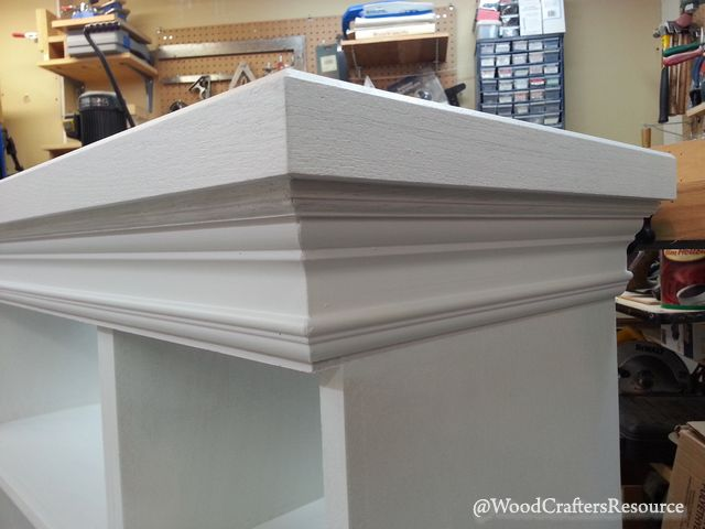Faux fireplace top molding detail